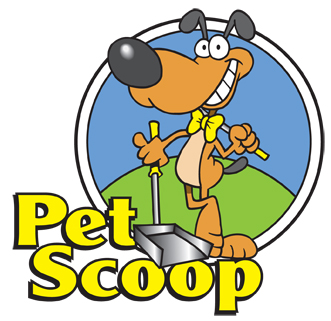 Pet Scoop Services logo features a poop scooping dog in a bow tie
