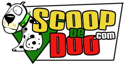 Scoop De Doo has a cartoon dog with yellow green and red lettering